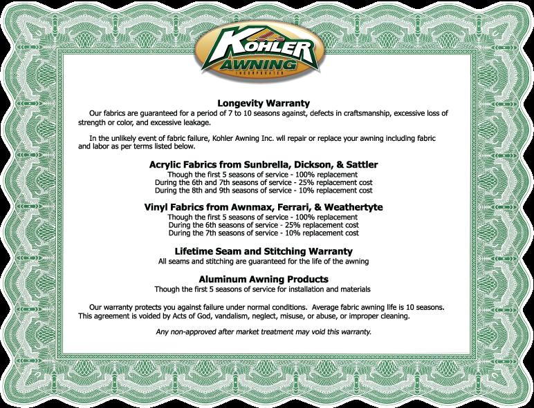 Kohler Awning Company Longevity Warranty | Kohler Awning